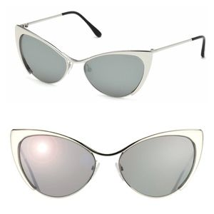 New TOM FORD Silver Cat Eye Sunglasses